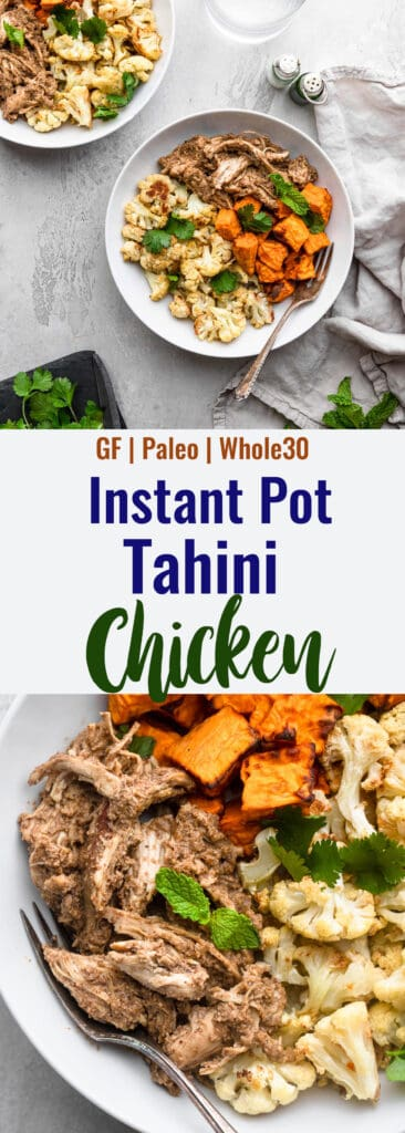 Instant Pot Tahini Chicken collage photo