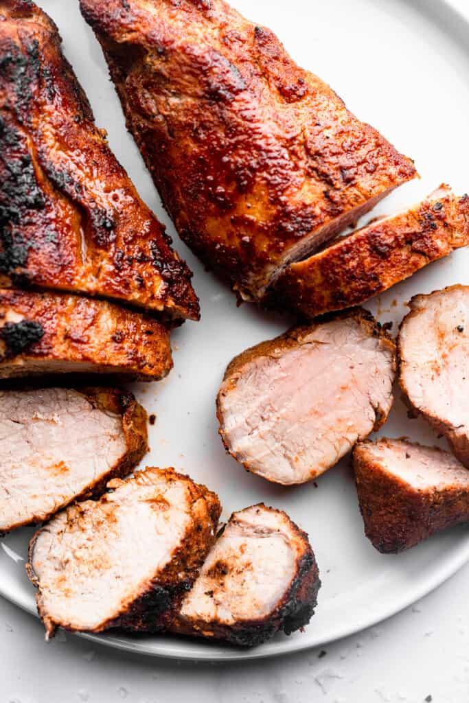 close up of Air Fryer Pork Tenderloin sliced into peices
