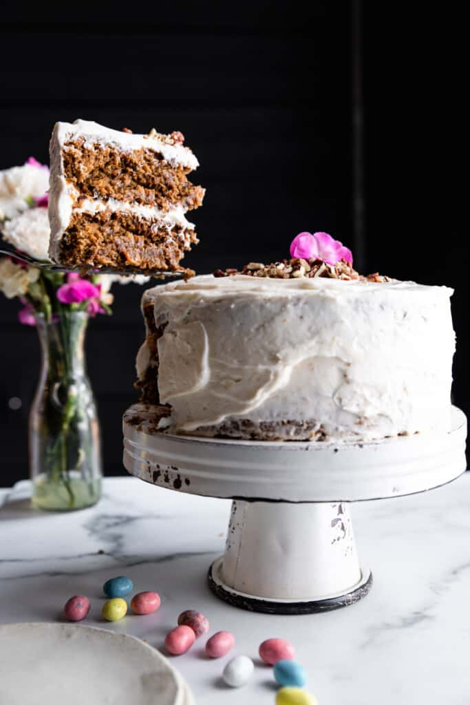 Vegan Carrot Cake on a cake stand