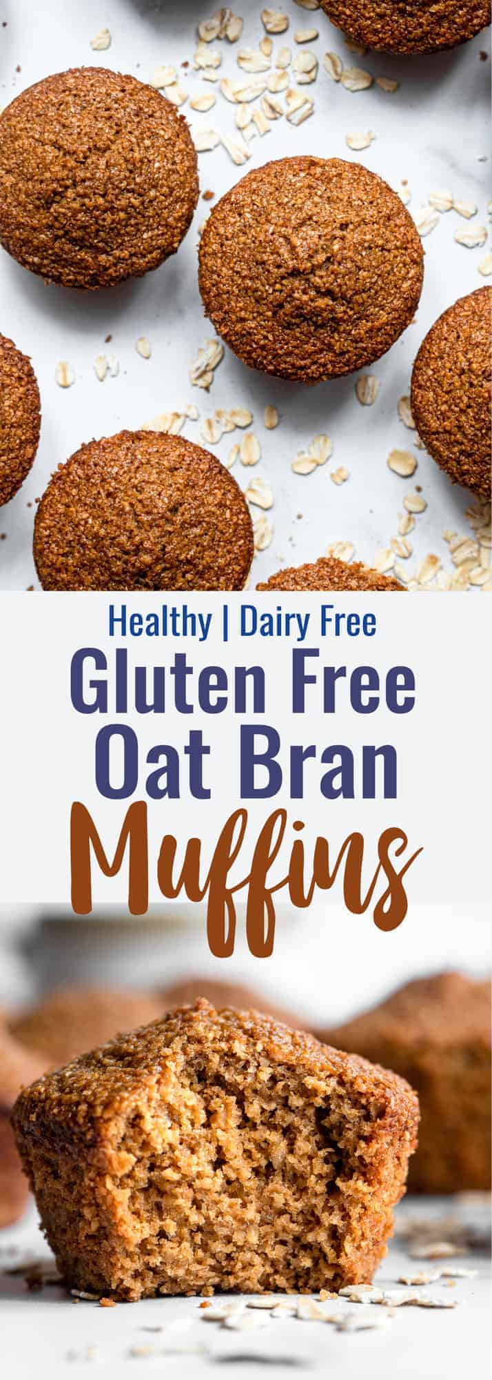 healthy oat bran muffins collage photo