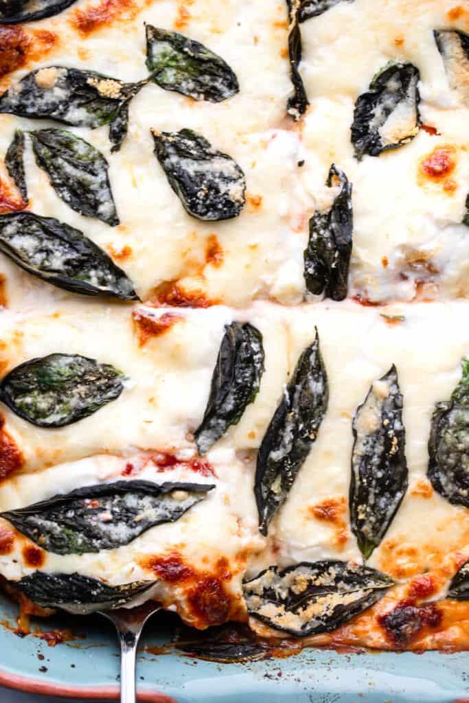 close up top view of Spaghetti Squash Lasagna