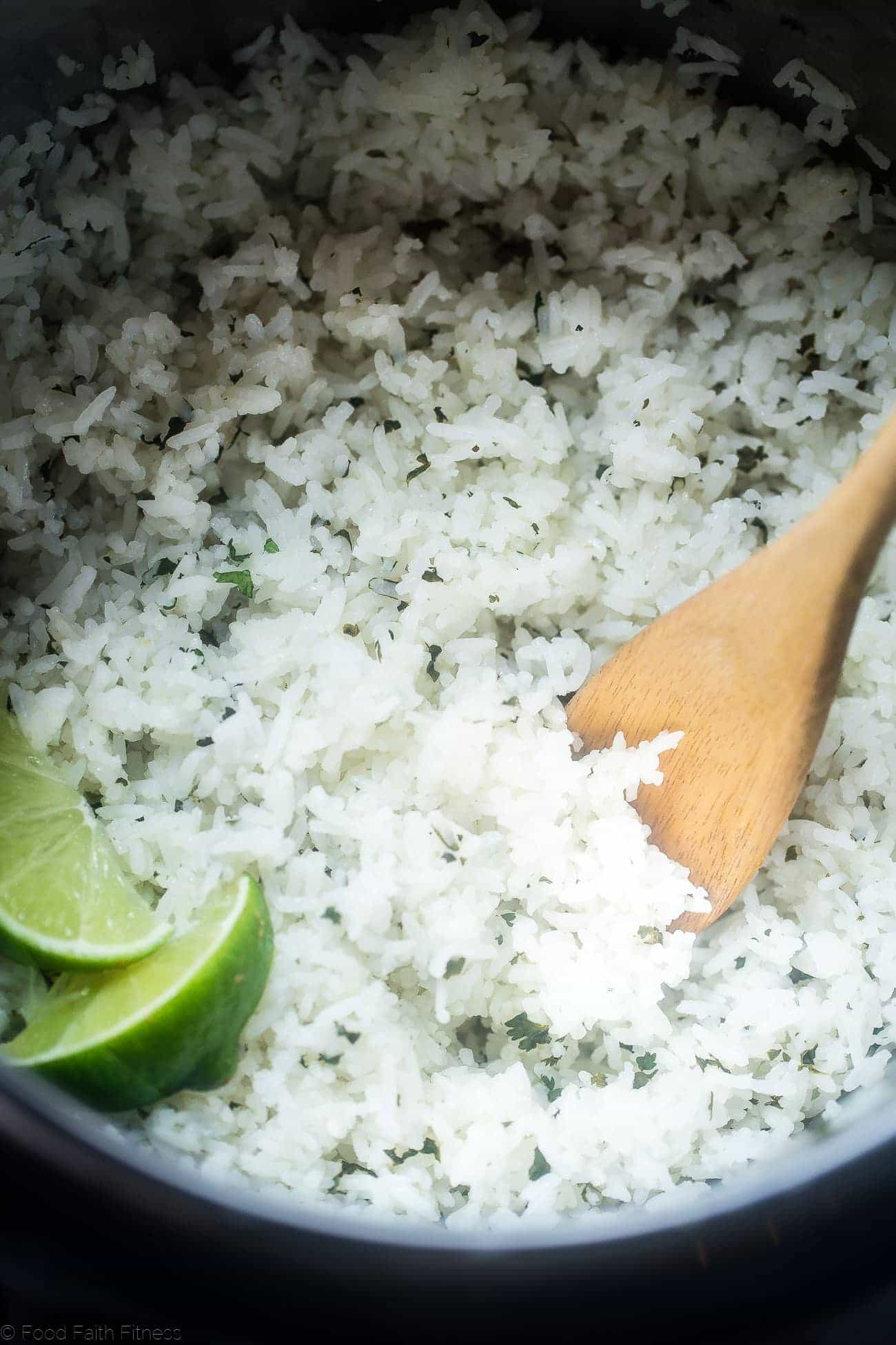 Instant Pot Cilantro Lime Rice - This super easy rice tastes like Chipotle's, is only 3 ingredients and is ready in 12 minutes - the perfect healthy side dish!   Foodfaithfitness.com   @FoodFaithFit