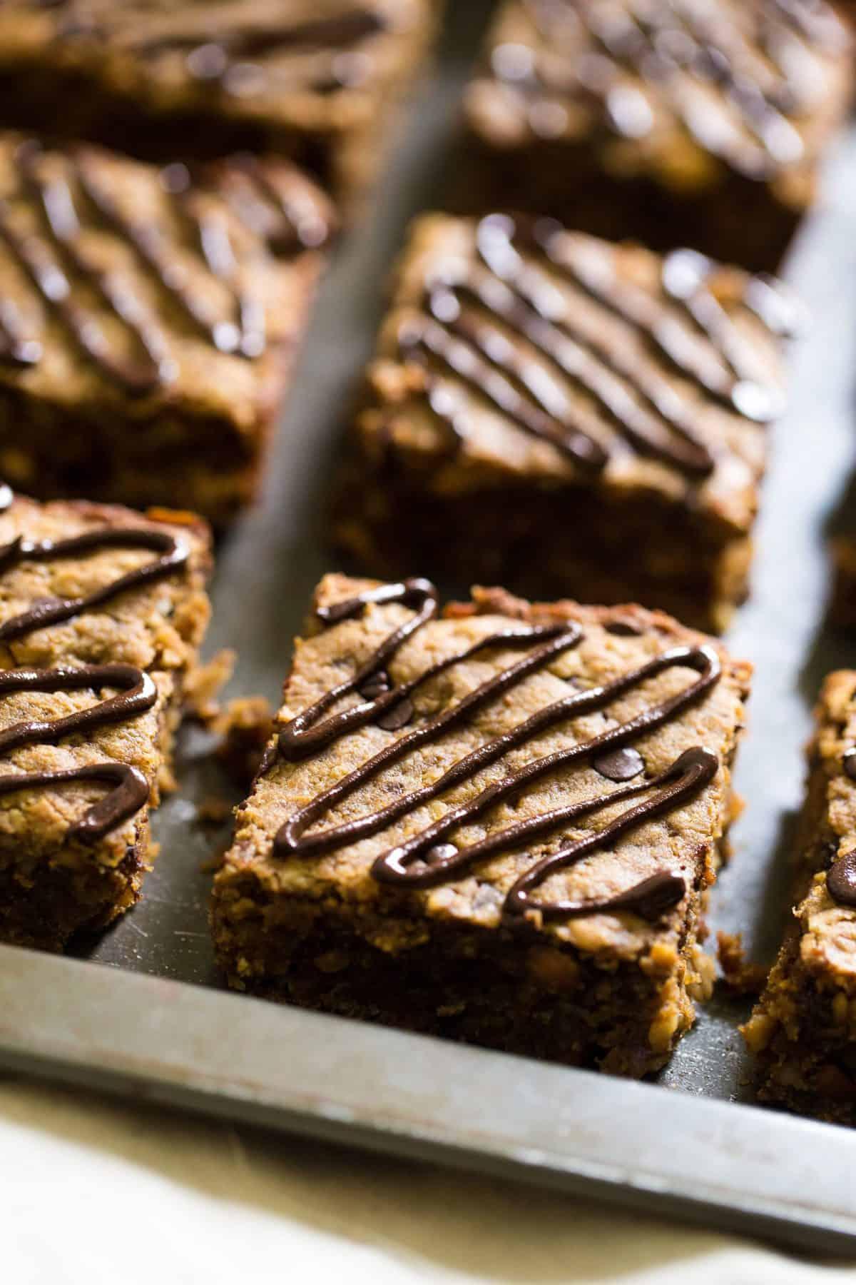 Healthy Breakfast Bars on a cookie sheet