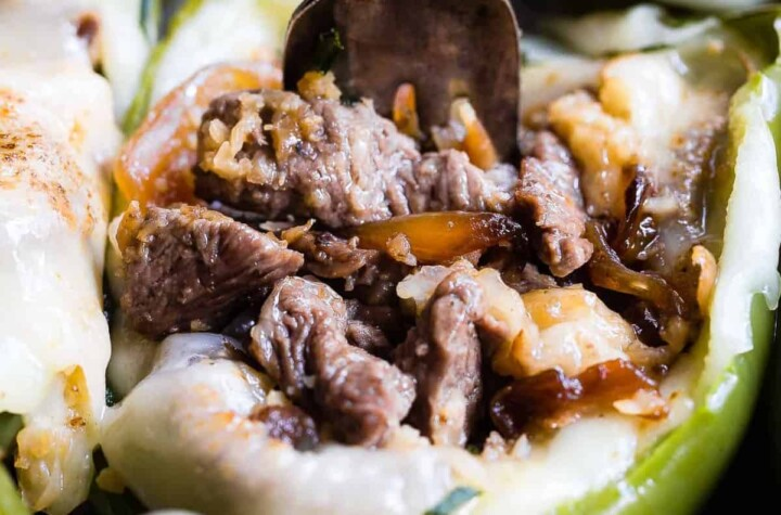low carb keto philly cheesesteak stuffed peppers photo