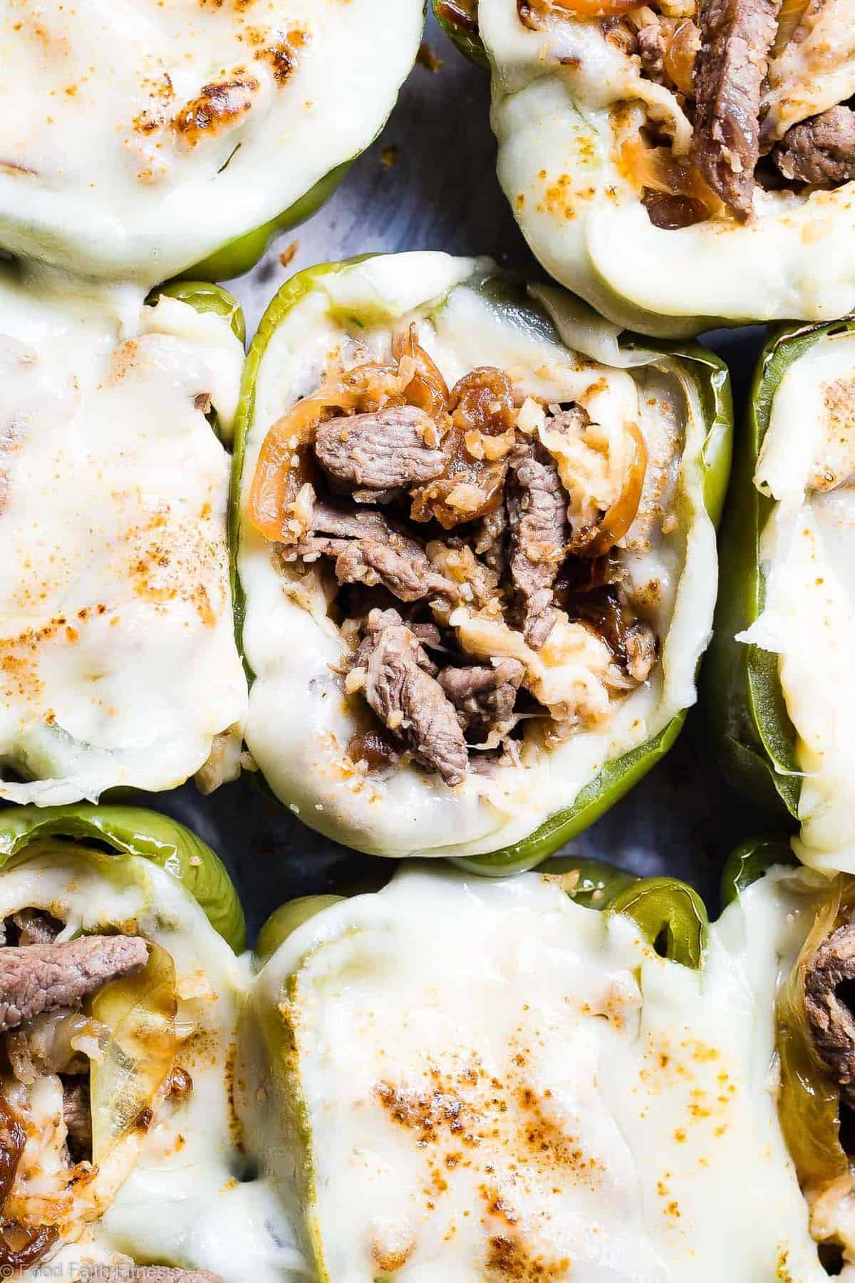 Cheesesteak Stuffed Peppers arranged on a backing sheet