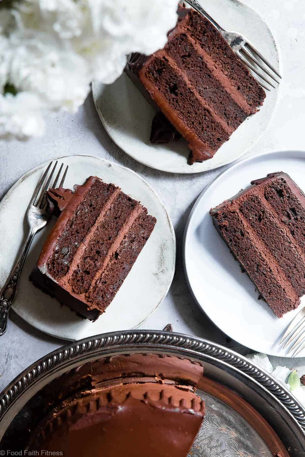 The Best Paleo Avocado Chocolate Cake -This dairy and gluten free Chocolate cake is SO fluffy and moist you'll never believe it's butter/oil free and made with avocado! The BEST healthy chocolate cake you will ever have! | #Foodfaithfitness | #Paleo #Grainfree #Dairyfree #Healthy #cake