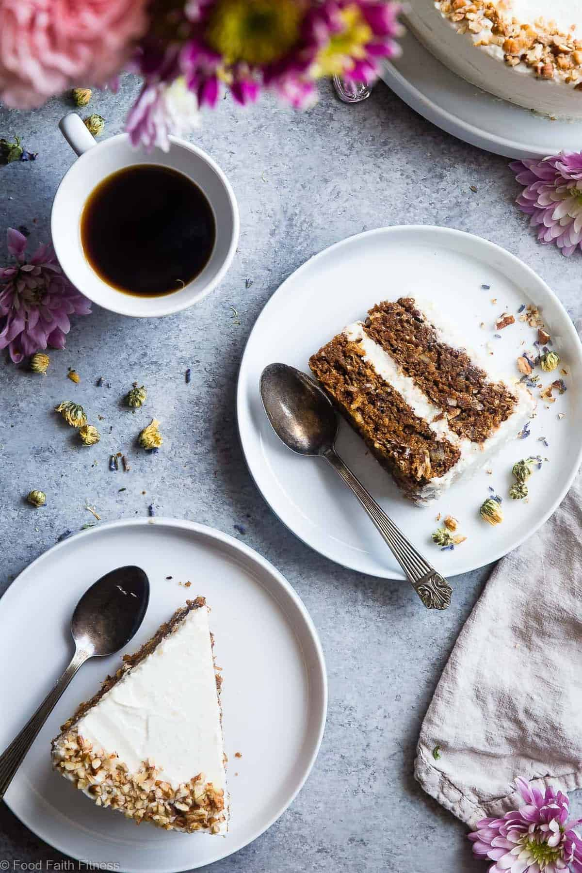 Vegan Gluten Free Dairy Free Carrot Cake -This one bowl, healthy carrot cake is SO moist and tender, you'll never know it's plant based, made without eggs and is gluten/grain/dairy/refined sugar free! Perfect for Easter! | #Foodfaitfitness | #Vegan #Easter #Glutenfree #DairyFree #Carrotcake