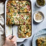 Low Carb Pesto Italian Sausage Breakfast Casserole -Thiseasy, keto-friendly breakfast egg casseroleis loaded with cheese and Italian flavors! A perfect, make-ahead breakfast or brunch that's gluten free and healthy!   #Foodfaithfitness   #Keto #Lowcarb #Glutenfree #Healthy #Breakfast