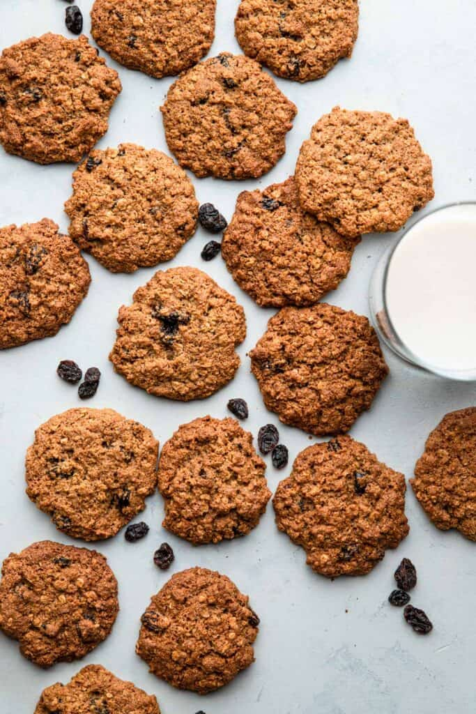 a bunch of Almond Flour Oatmeal Cookies on a table