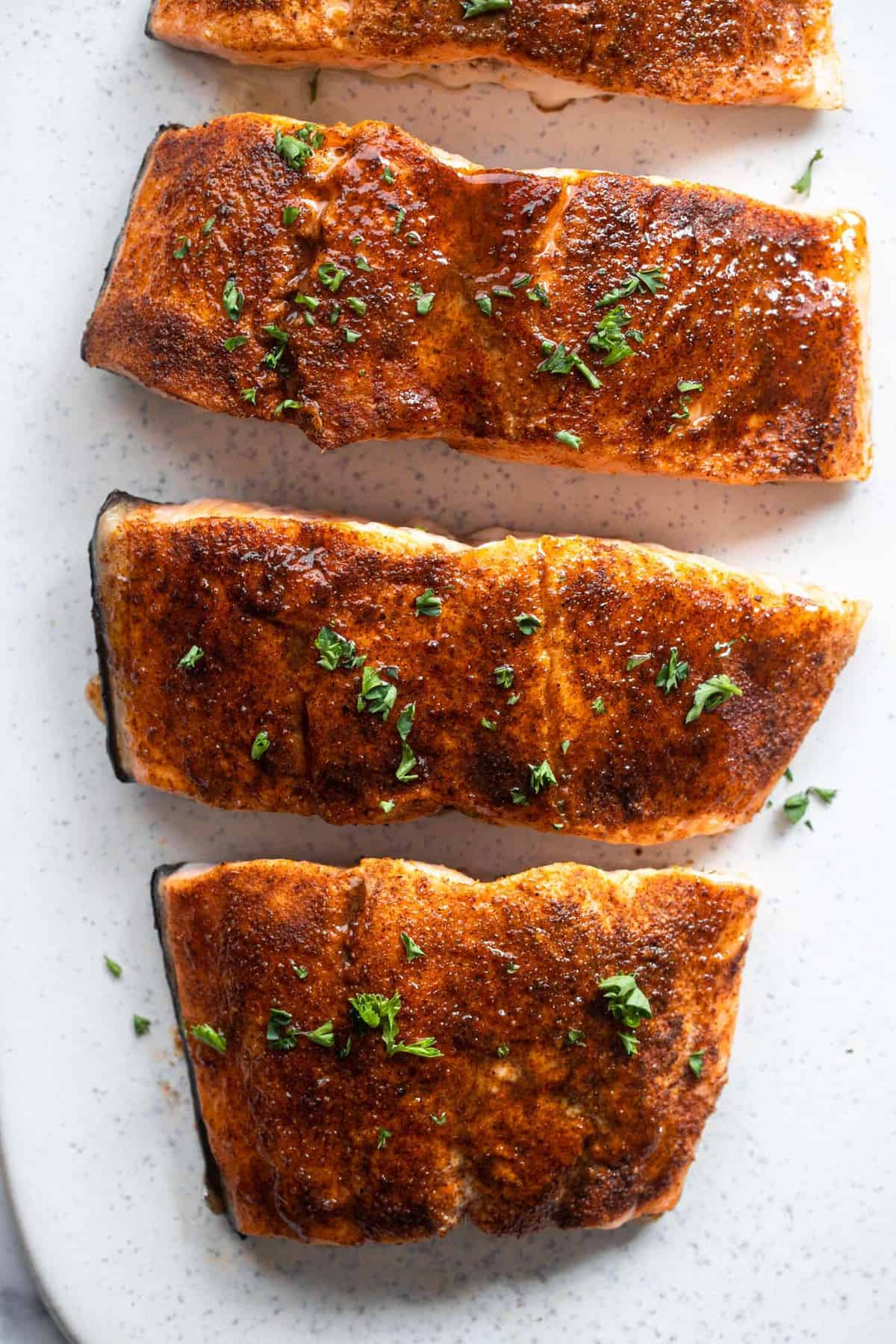 Honey Cajun Salmon close up of fillets on a plate