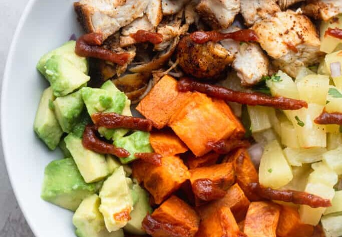 Chipotle Chicken Bowls with Pineapple Salsa image 683x1024 1
