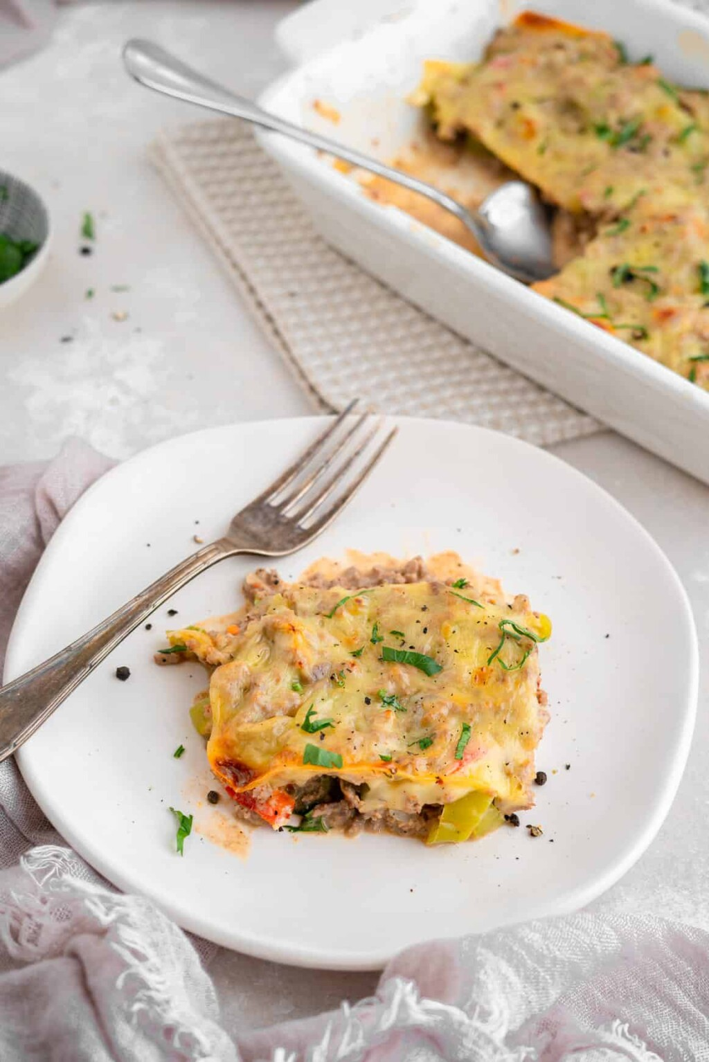 dished out casserole with fork
