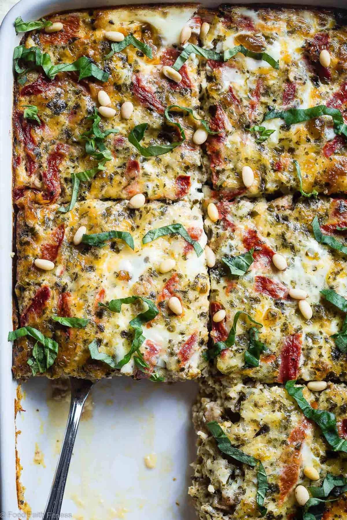 slices of Keto Breakfast Casserole in a baking dish
