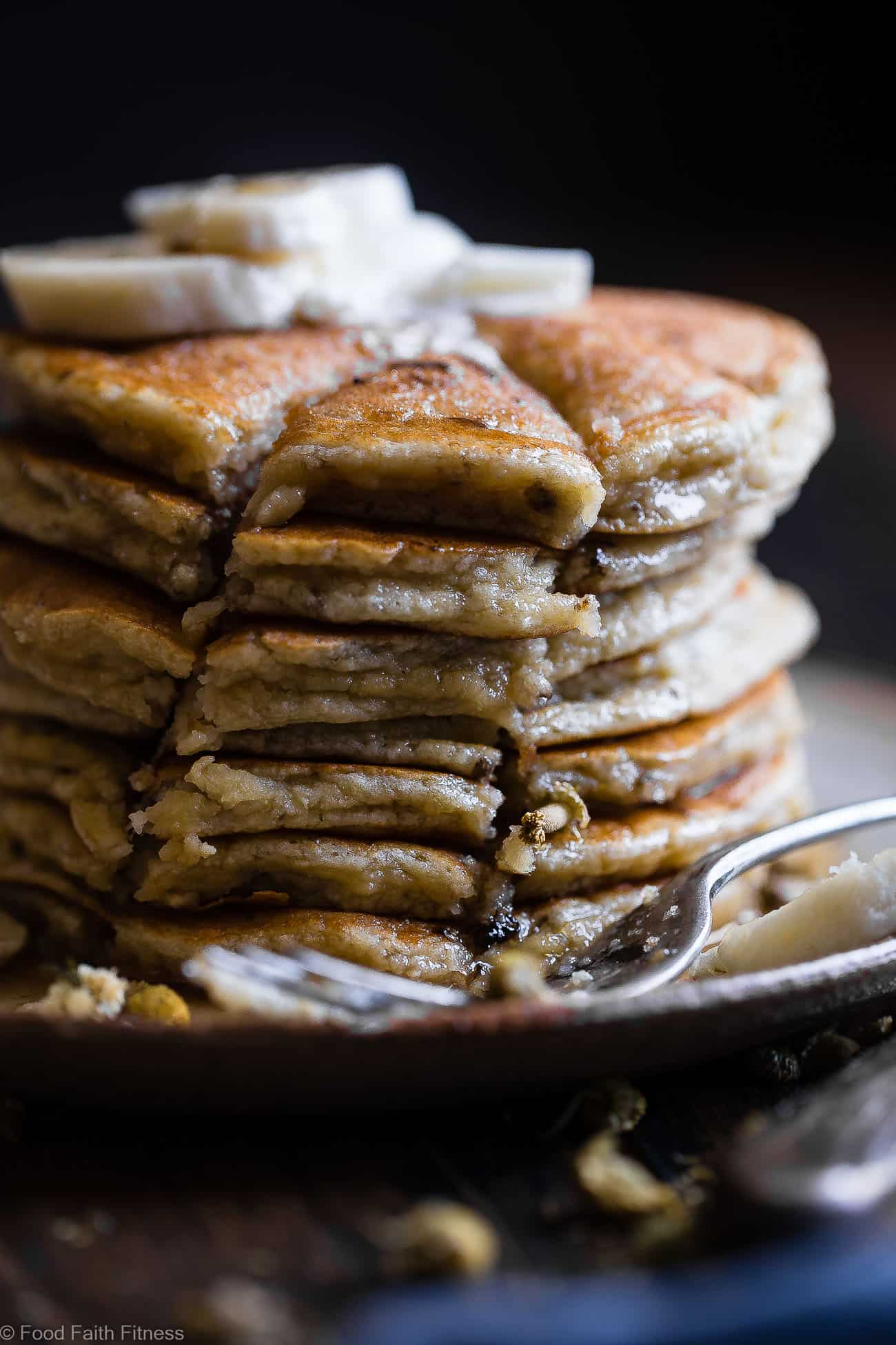 Easy Paleo Banana Pancakes with Coconut Flour -Thesequick and easy banana pancakesare naturally sweetened, gluten, grain and dairy free and SO light and fluffy! The perfect healthy start to your day or weekend breakfast! | Foodfaithfitness.com | @FoodFaithFit