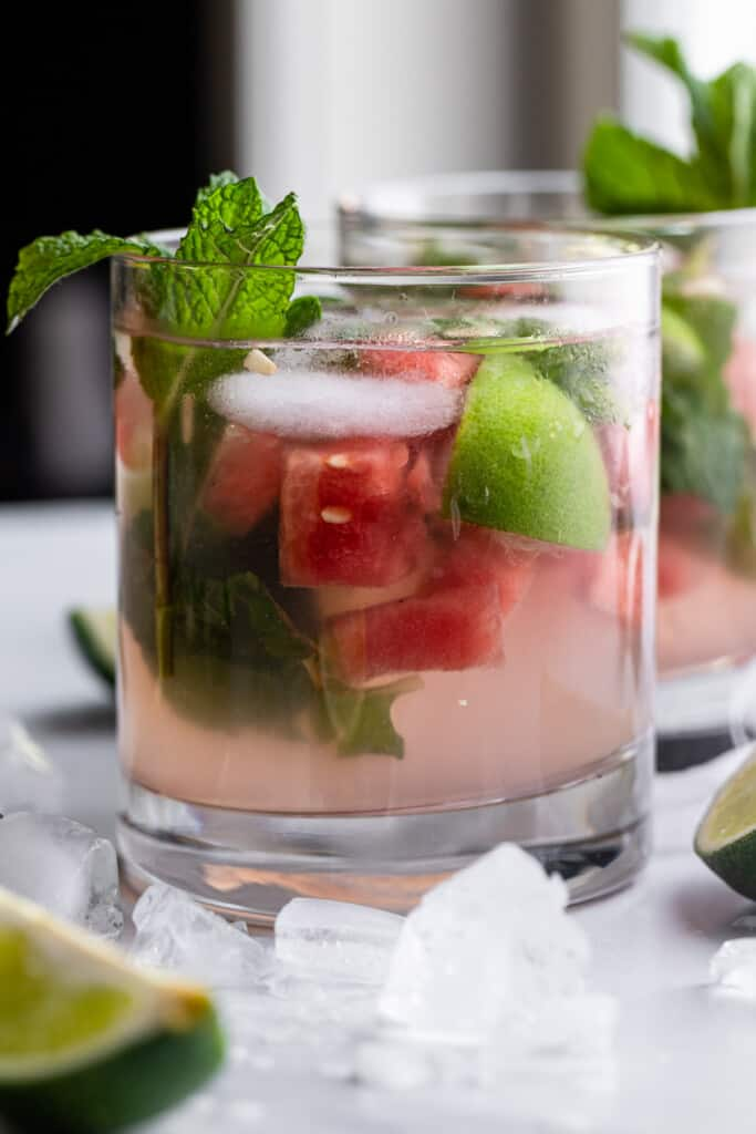one short glass of Watermelon Mojito with mint