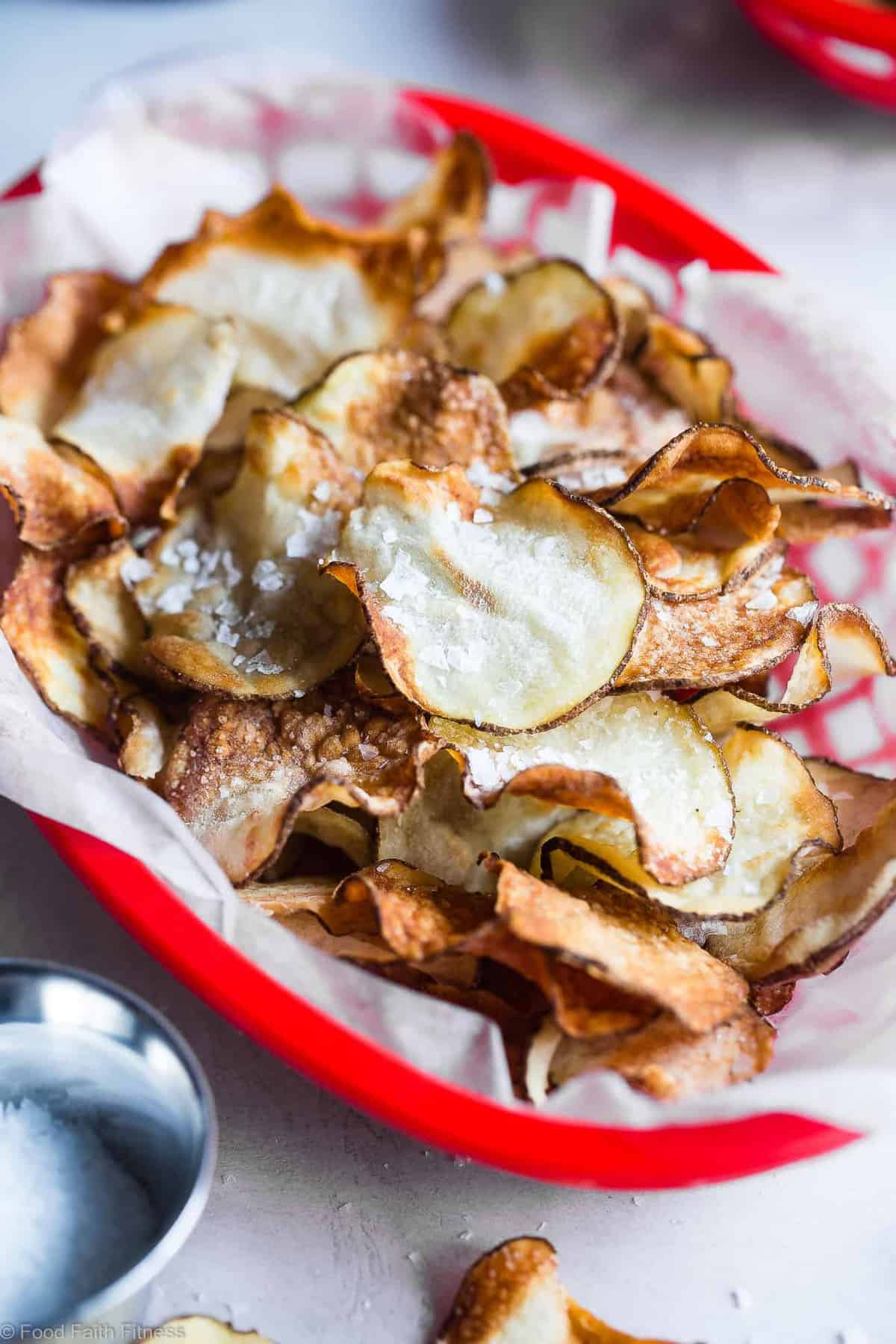 Air Fryer Potato Chips -These EASY Air Fryer Potato Chips are perfectly crispy and crunchy and only use 2 ingredients! You'll never believe they are healthy, vegan, gluten free and only 75 calories for a large serving!   #Foodfaithfitness   #Glutenfree #Airfryer #Healthy #Vegan #CleanEating