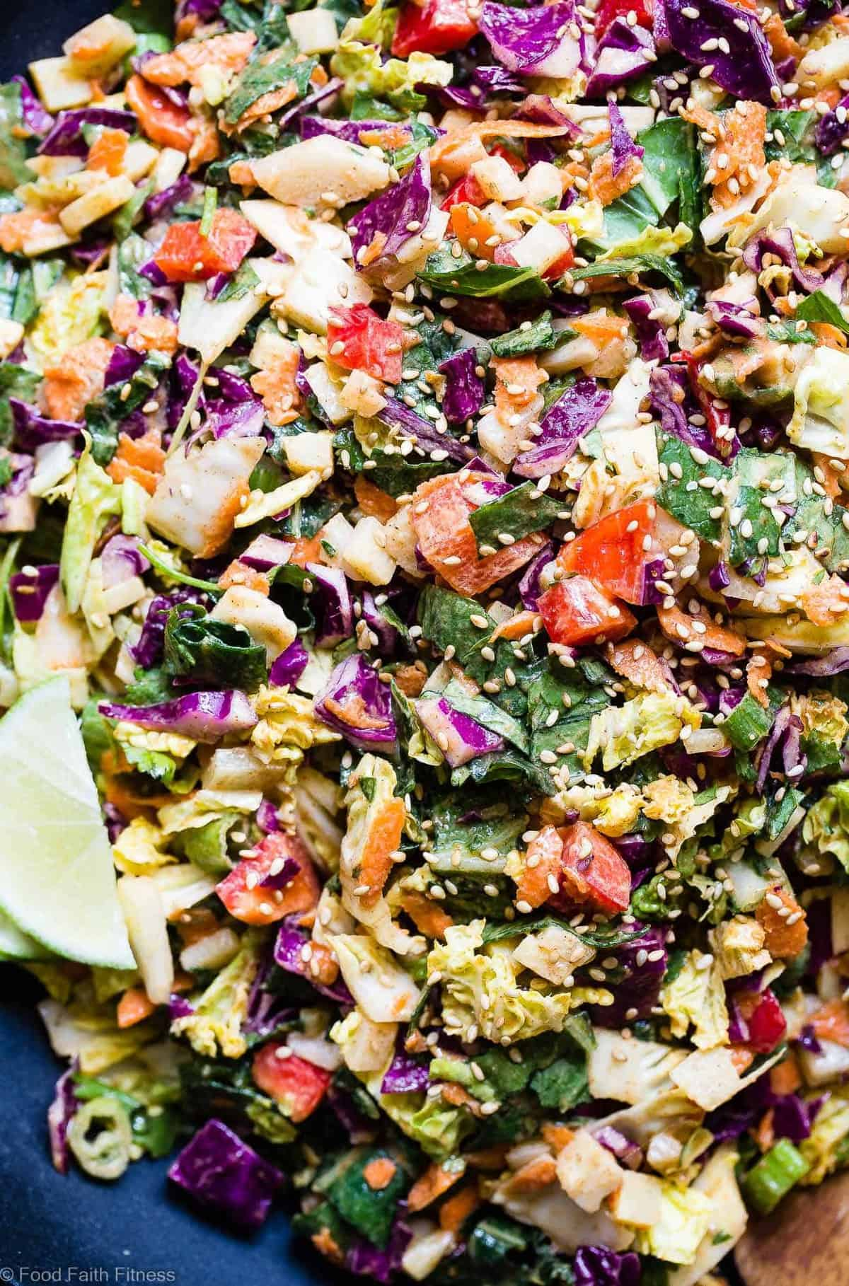 Oriental Coleslaw mixed together and served with a lime wedge