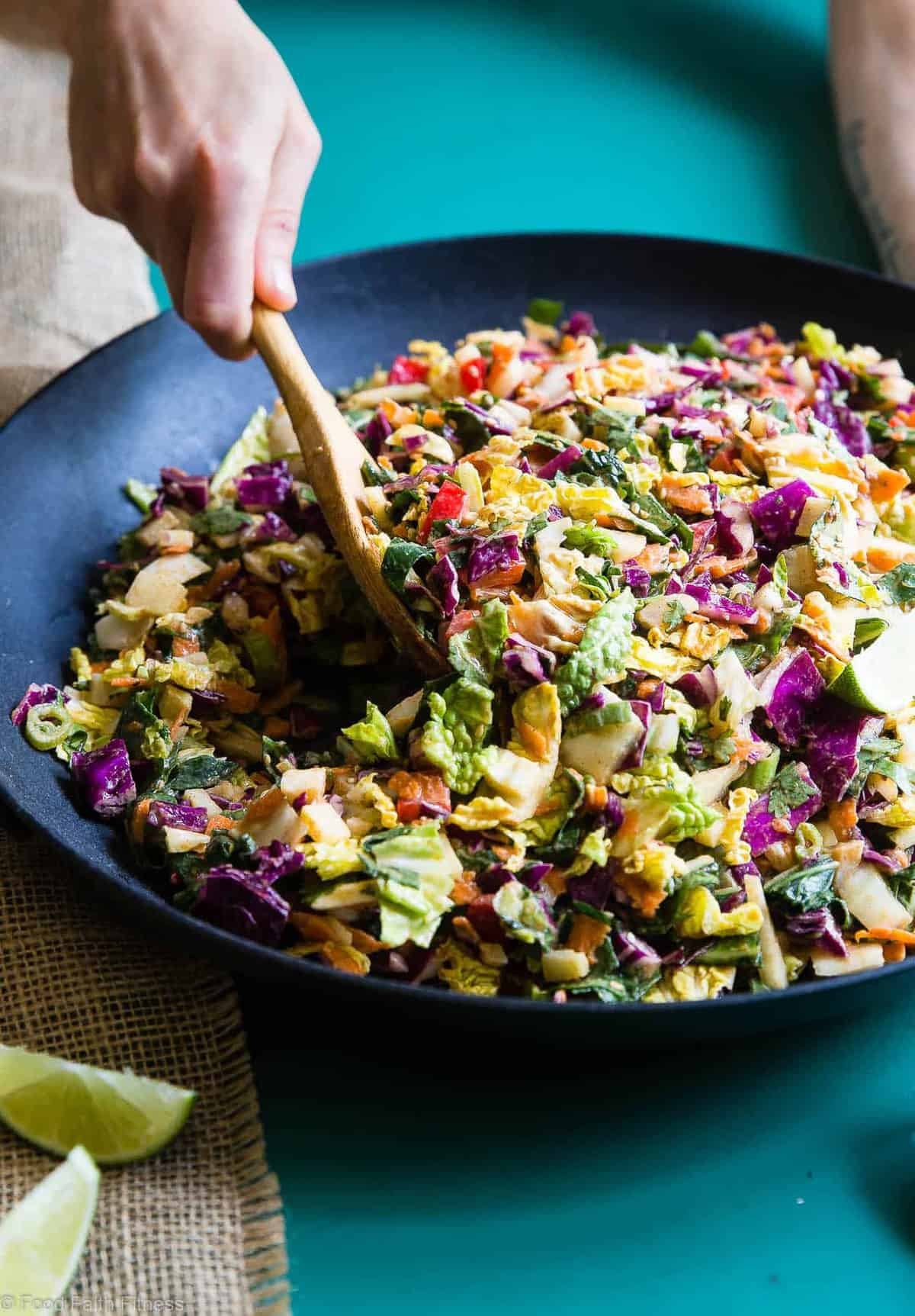 Oriental Coleslaw being served from a wok