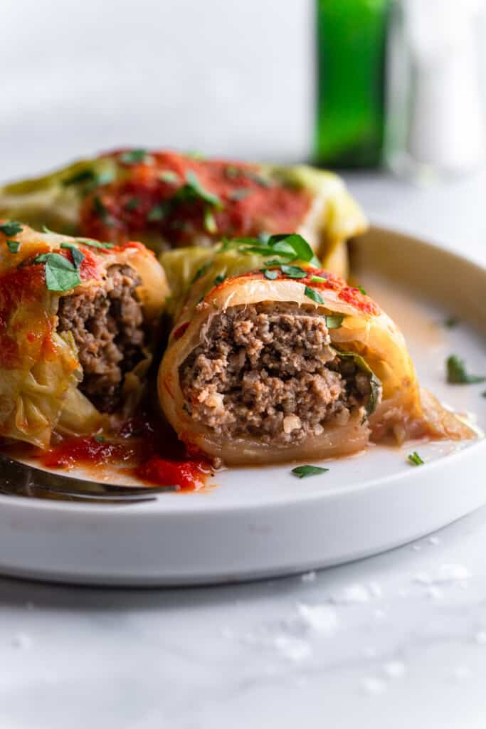 Keto Cabbage Rolls on a plate