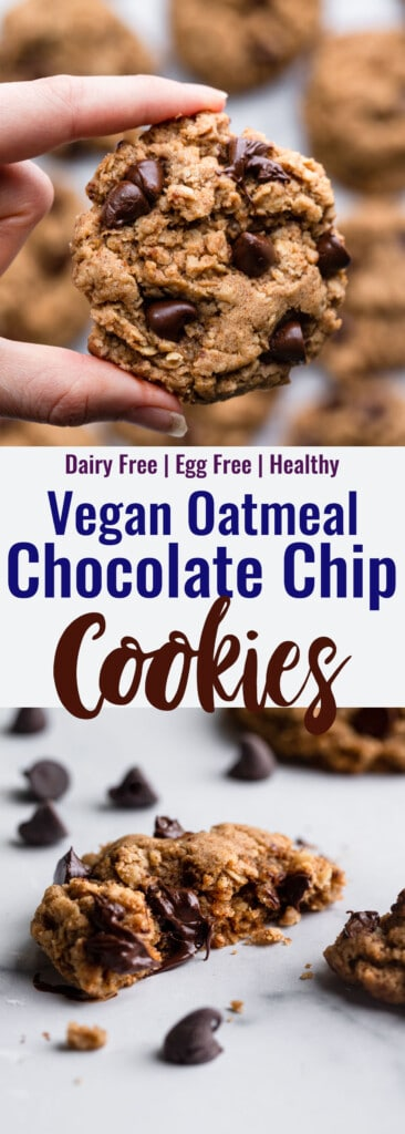 Vegan Oatmeal Chocolate Chip Cookies collage photo