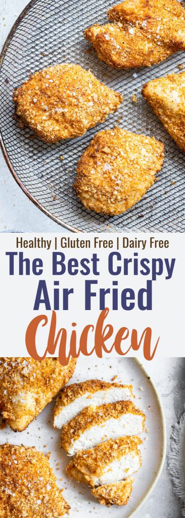 Collage image of 2 photos of Air Fryer Breaded Chicken Breast