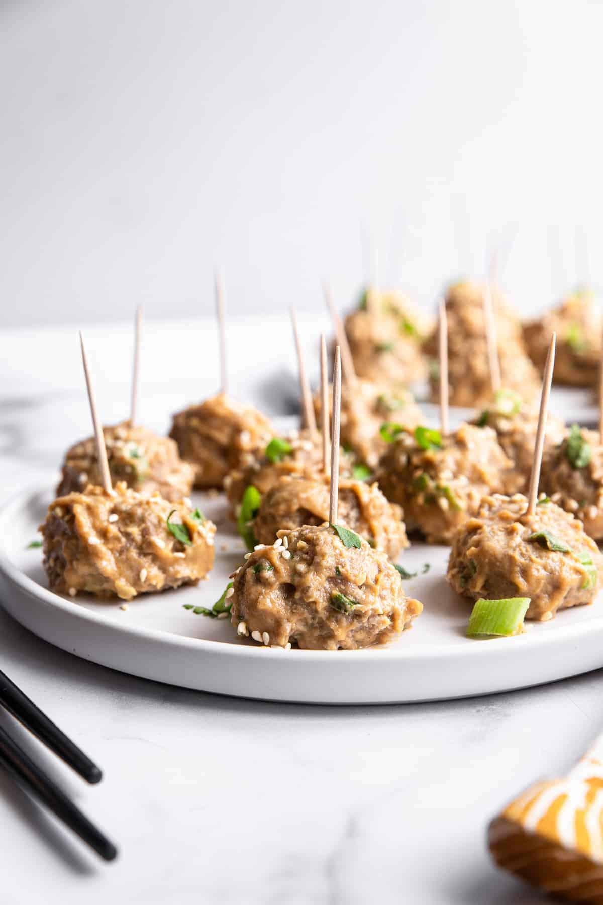 asian turkey meatballs image