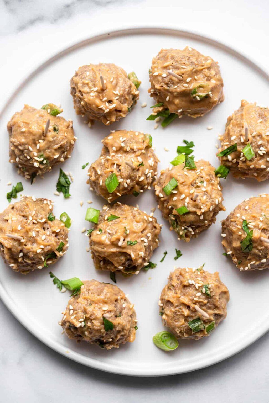 asian turkey meatballs photo