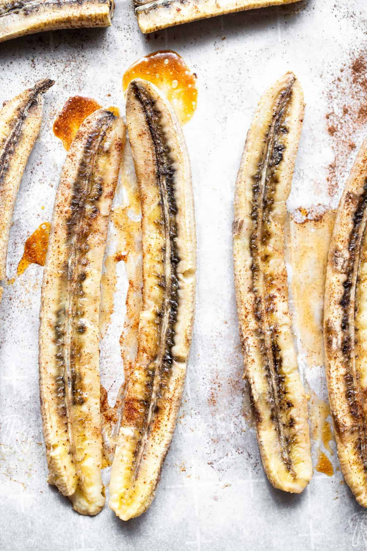 roasted bananas on a cookie sheet