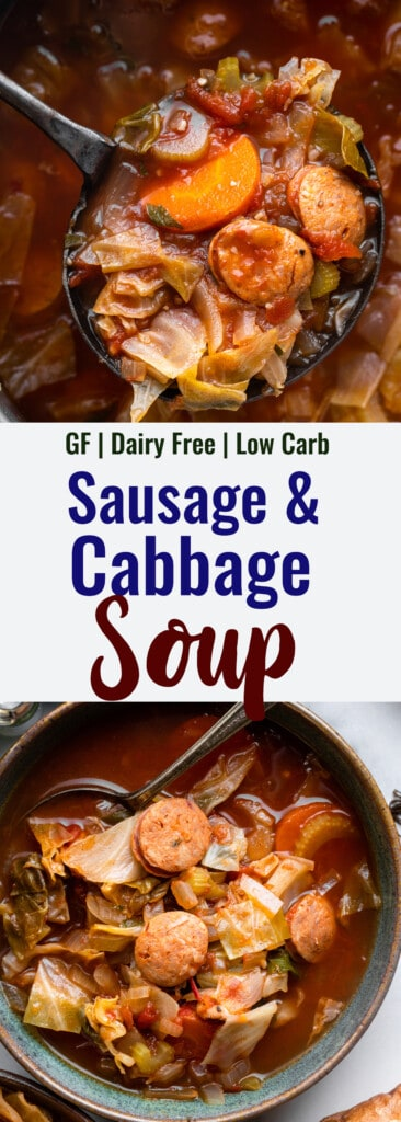 Cabbage Soup with Sausage collage photo