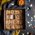 Vegan + Paleo Pumpkin Blondies - These one-bowl, pumpkin blondies are so dense, and sweet that you'd never know they're secretly healthy, have no butter or oil, and are only 105 calories!   Foodfaithfitness.com   @FoodFaithFit