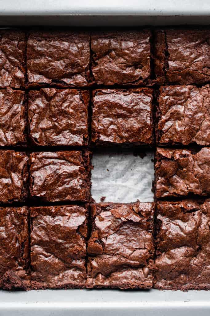 a pan full of Vegan Gluten Free Brownies